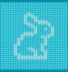 seamless knitted pattern with rabbit vector image