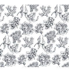 Seamless pattern with hand drawn flowers and vector