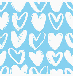 Seamless pattern with hearts hand drawn with rough vector