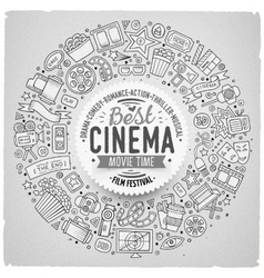 Set of Cinema cartoon doodle objects vector image