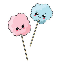 Set of cute cotton candy with a smile vector
