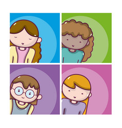 set of girls avatar vector image