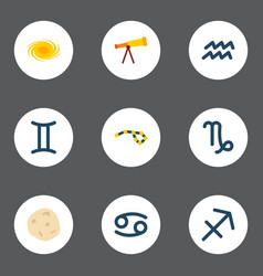 set of icons flat style symbols with gemin vector image