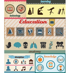 Set of retro education icons with vintage vector image