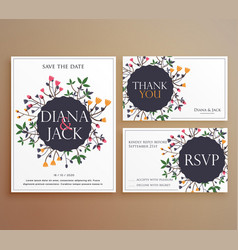 set of wedding invitation card suite with flower vector image