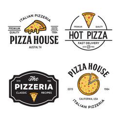 set pizza logo badges banners emblems vector image