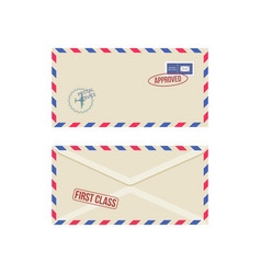 set postage envelopes front and back realistic vector image