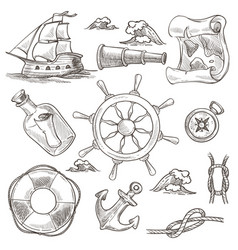 Ship and lifebuoy sea or marine symbols sketches vector