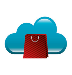shopping online bag and cloud computing vector image