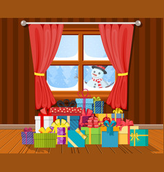 snowman looks in living room window vector image