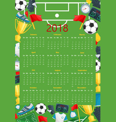 Soccer calendar template of football sport game vector