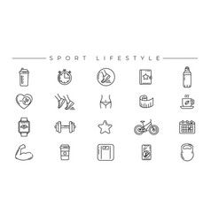 Sport lifestyle concept line style icons vector