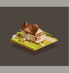 Suburban poor family house with porch vector