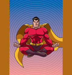 Superhero meditating with background vector