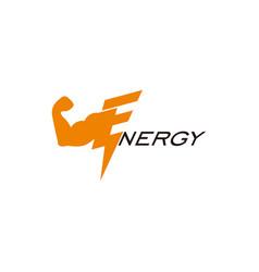 text energy strong arm thunder geometric logo vector image