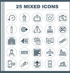 Transportation icons set collection of exit vector
