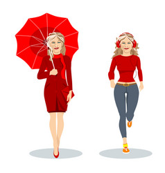 two girls in red one with an umbrella another vector image
