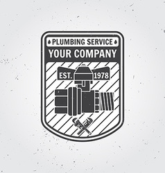 Vintage plumbing service badge banner or logo vector image