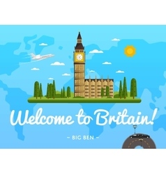 Welcome to britain poster with famous attraction vector