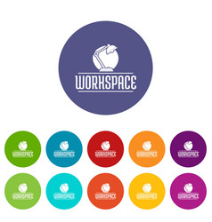Workspace icons set color vector