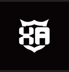 Xa logo monogram with shield around crown shape vector