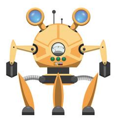 yellow metallic robot with three legs drawn icon vector image