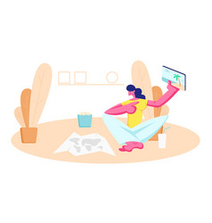 young woman sitting on floor with paper map vector image