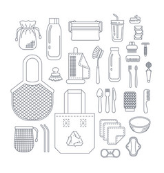 zero waste eco friendly utensils thin line icons vector image
