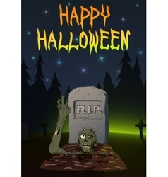 Zombie pulls hand up Invitation Happy Halloween vector image