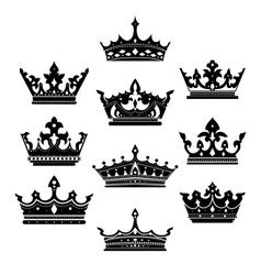 Black crowns set for heraldry design vector image