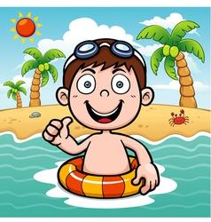 Boy swim vector image