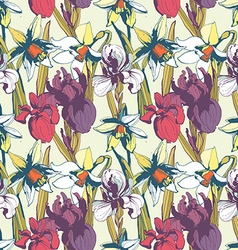 Floral flower narcissus iris seamless hand drawn vector image