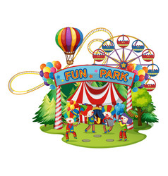 happy clowns in the funpark vector image vector image