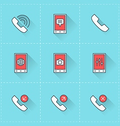 Mobile phone icons icon set in flat design style vector image vector image