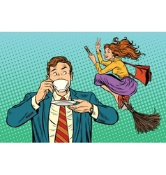 Retro man sees a woman cheerful witch vector image vector image