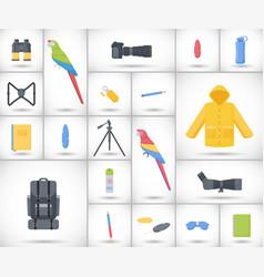 birding travel flat icons set vector image