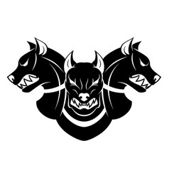 cerberus heads black and white vector image vector image