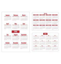 horizontal and vertical pocket calendar on 2018 vector image vector image