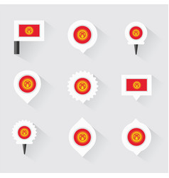 kyrgyzstan flag and pins for infographic and map vector image vector image