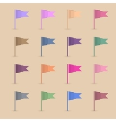 Set paper flags vector image vector image