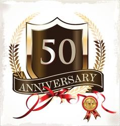 50 years anniversary golden label vector