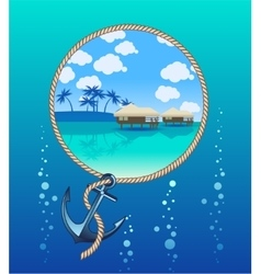 Anchor and tropical island vector image