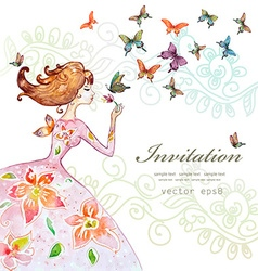 beautiful girl with butterfly watercolor painting vector image vector image