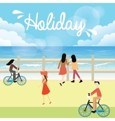 holiday season bright sky people go to the beach vector image vector image