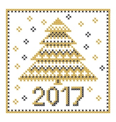 peasant folk rustic motif of christmass tree cross vector image
