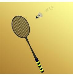 Shuttlecock flies to badminton rackets vector