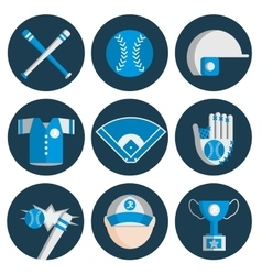 baseball flat icon set vector image
