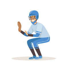 baseball player in a blue uniform trying to catch vector image vector image