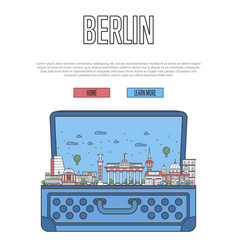 berlin city poster with open suitcase vector image vector image