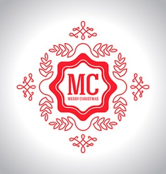Christmas festive Card monograms style Lineart vector image vector image
